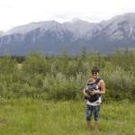 Mama and baby Ergobaby hiking
