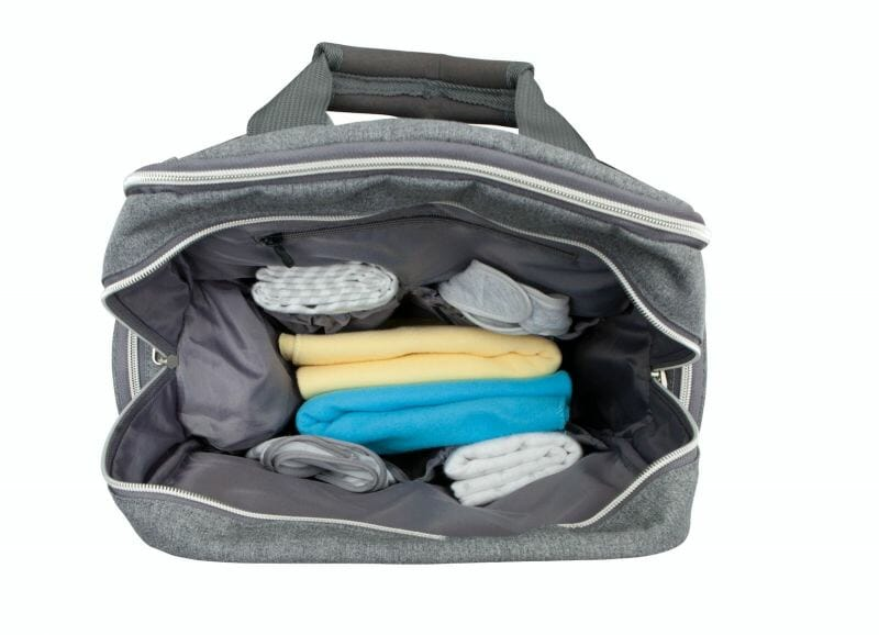 top view of open diaper bag