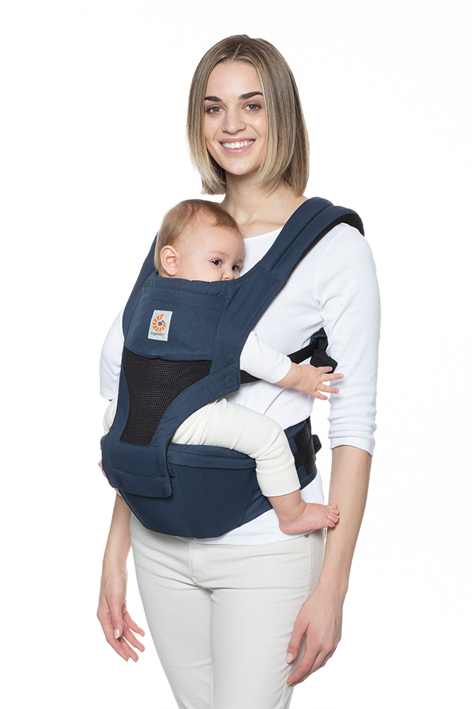 Mom using Hip Seat Front Carry Inward Facing