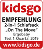 kidsgo Testsiegel Schlafsack On the Move
